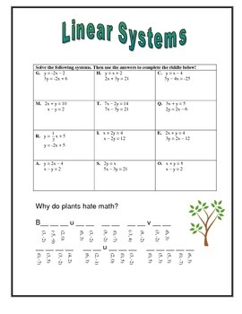 Linear System of Equations ~ Riddle Worksheet
