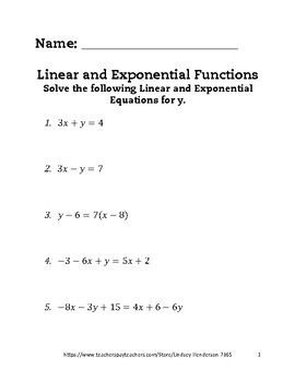 Linear and Exponential Functions Lesson 1 of 6 Rates of Change