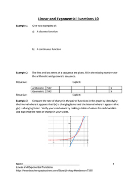 Linear and Exponential Functions Lesson 10 of 10