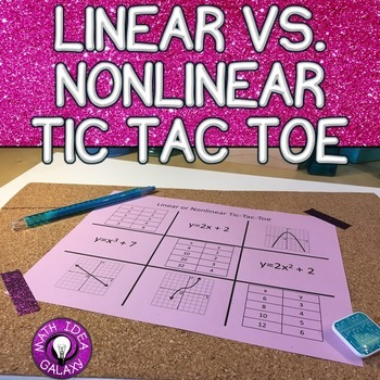 Linear and Nonlinear Functions Activity: Tic-Tac-Toe