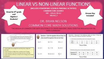 Linear vs Non-Linear Functions  - PowerPoint Lesson and Pr