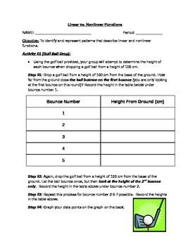 Linear vs. Nonlinear Graph (Golf Ball Activity)