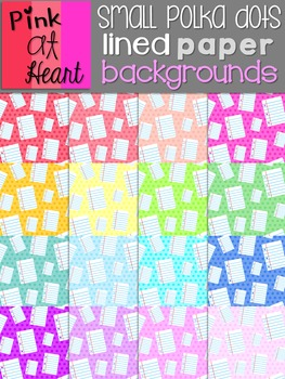 Lined Paper Backgrounds: Small Polka Dots
