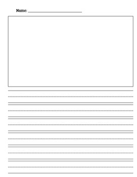 Lined paper with box for illustration