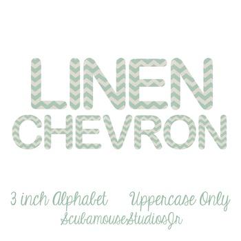 Linen Chevron Alphabet, 3 inch digital letters, individual