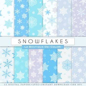 Blue Christmas Snowflakes Seamless Digital Paper, scrapboo