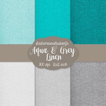 Linen Digital Paper, Aqua and Grey Linen Digital Scrapbook