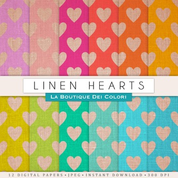 Linen Hearts Digital Paper, scrapbook backgrounds