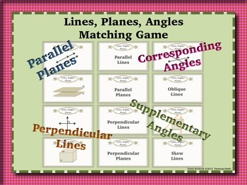Lines, Planes, Angles Matching Game