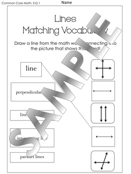 Lines and Angles Matching Sheets