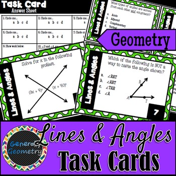 Lines and Angles Task Cards; Geometry