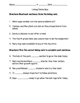 Linking Verbs Quiz