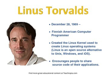 Linus Torvalds Famous Computer Scientist Poster for Classroom