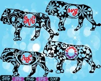 Lion Circle Frames Jungle Animal Safari Flower SVG school