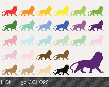 Lion Digital Clipart, Lion Graphics, Lion PNG, Rainbow Lio