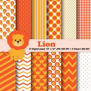 Lion Digital Paper & Clipart