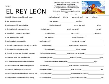 Lion King Movie activity with Subjunctive & Indicative verbs