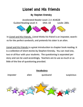 Lionel and His Friends Guided Reading Plan