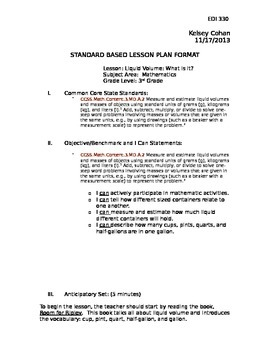 Liquid Measurement Lesson Plan