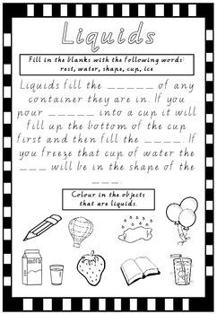 Liquids Worksheet- States of Matter