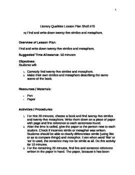 Lirerary Qualities Lesson Plan Shell #70