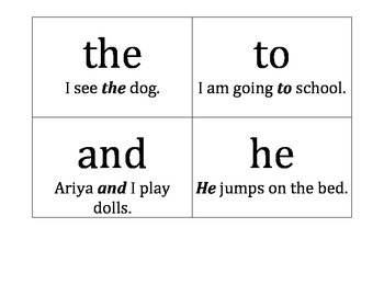 List 1 of Sight Words with Sentences