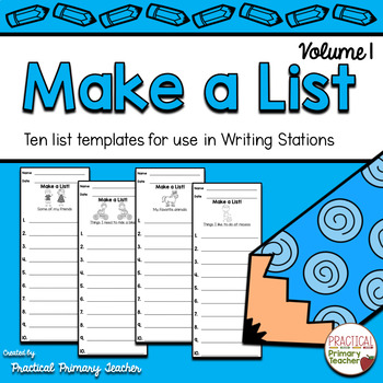 List Templates for Writing / Literacy Centers