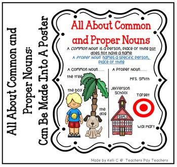 List of Common and Proper Nouns Page for Classroom Use