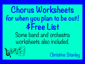 Chorus Substitute Worksheets List ~ $FREE