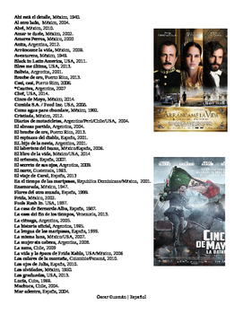 List of movies for High School Spanish Class.