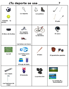 Lista de Vocabulario Sports Equipment
