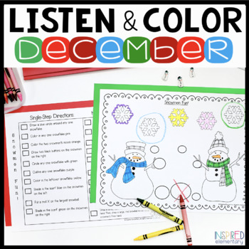 Listen and Color December: A Listening Comprehension Activ