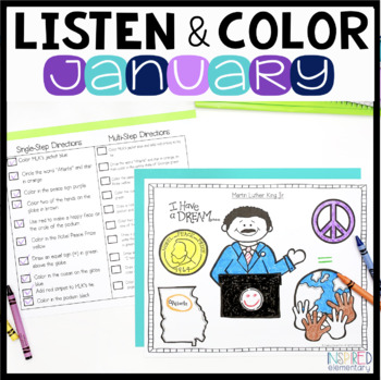 Listen and Color January: A Listening Comprehension Activi