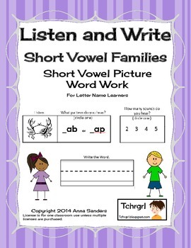 Phonics Listen and Write Word Families Book 1 - Phonic/Pho