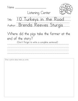 Listening Center Response - 10 Turkeys in the Road by Bren