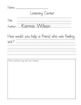 Listening Center Response - Bear Feels Sick by Karma Wilson