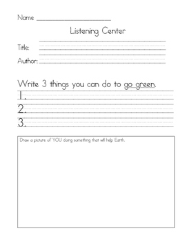 Listening Center Response - Miss Fox's Class Goes Green by