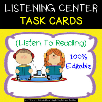 Listening Center Task Cards - EDITABLE - great for Daily 5