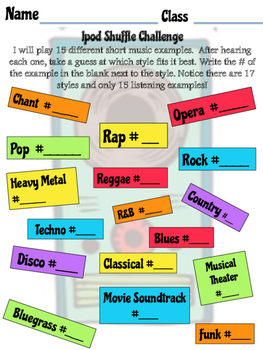 """Listening Challenge """"iPod Shuffle"""" First Day activity"""