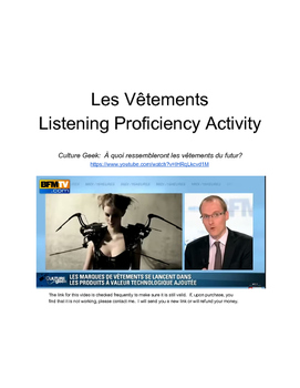 Les Vetements Listening Proficiency Activity (video and wo