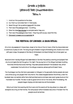 Listening Test - Festival of Lwiindi