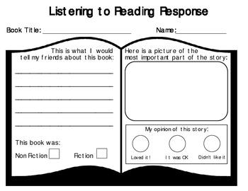 Listening to Reading Response Sheet