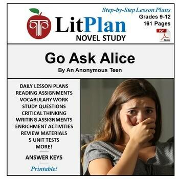 LitPlan Teacher Guide: Go Ask Alice - Lesson Plans, Questi