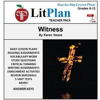 LitPlan Teacher Guide: Witness (Hesse) - Lesson Plans, Que
