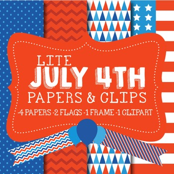 Lite 4th of July Papers & Clips