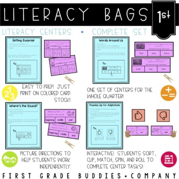 Literacy Bags for 1st Grade: Complete Set (40 CC Aligned L