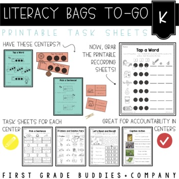 Literacy Bags for Kinder: To-Go {40 Printable, No Prep CC