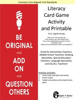 Cooperative Learning Card Game for All Subject Areas
