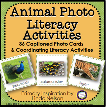 Literacy Center Activities with Animal Photo Cards