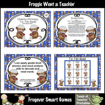 Literacy Center--Cheeky Monkeys Tic-Tac-Read Bundle II (Pr
